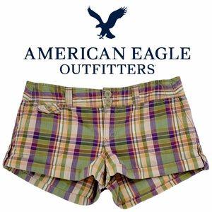 American Eagle Summer Plaid Shorts